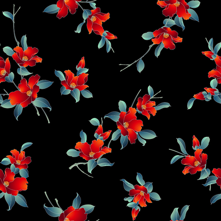 Japanese style camellia pattern Design of a Japanese style camellia This painting continues repeatedly,
