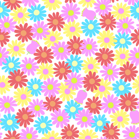Flower illustration pattern, continue seamlessly
