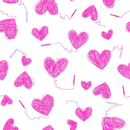 Heart shaped pattern illustration, seamlessly Illustration