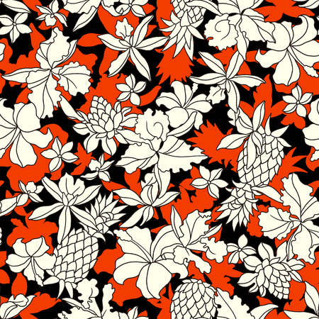 Tropical flower pattern I drew a tropical flower for designing it This painting continues repeatedly,