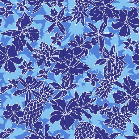熱帯の花柄私はそれを設計するための熱帯の花を描いたこの絵は繰り返し続け、