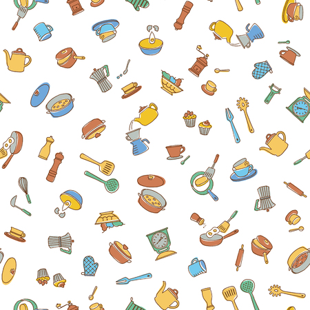 Kitchen utensil illustration pattern, I made a kitchen utensil an illustration simply, I continue seamlessly,