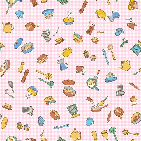 Kitchen utensil illustration pattern, I made a kitchen utensil an illustration simply, I continue seamlessly,