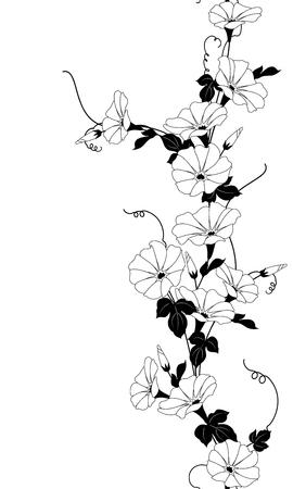 Japanese style morning glory pattern, Design of a Japanese style morning glory,