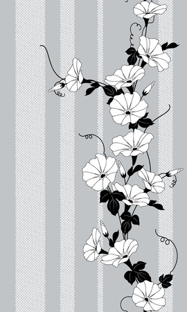 Japanese style morning glory pattern, Design of a Japanese style morning glory, 일러스트