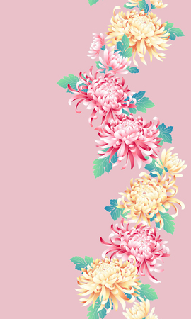 Japanese style chrysanthemum pattern, Design of Japanese style Chrysanthemum flower, This painting continues repeatedly, I t is used for a kimono, 向量圖像
