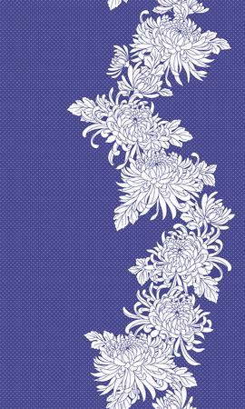 Japanese style chrysanthemum pattern, Design of Japanese style Chrysanthemum flower, This painting continues repeatedly, I t is used for a kimono,