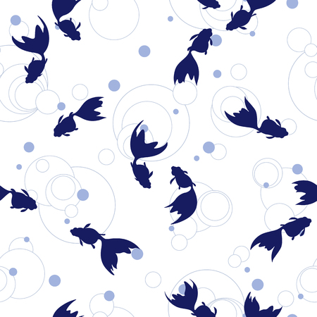 Japanese style fish pattern, I drew a Japanese style fish in a freehand drawing, It repeats itself seamlessly,  イラスト・ベクター素材