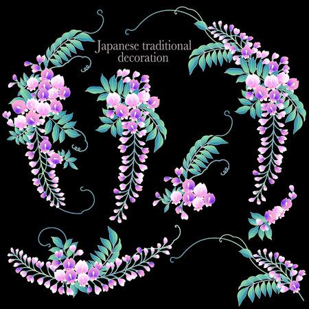 Japanese style wisteria decoration diameter, I made a decoration frame with Japanese style wisteria  イラスト・ベクター素材