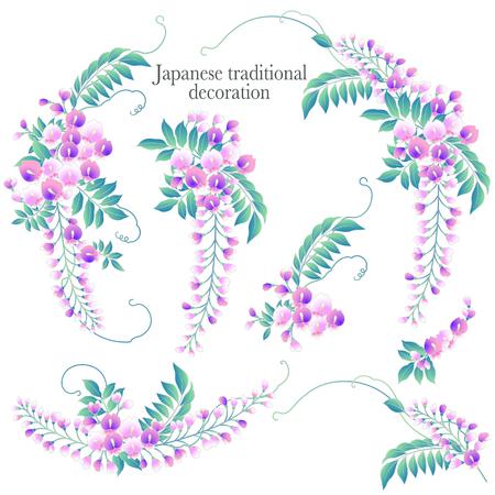 Diámetro de decoración de glicina de estilo japonés, hice un marco de decoración con glicina de estilo japonés Ilustración de vector