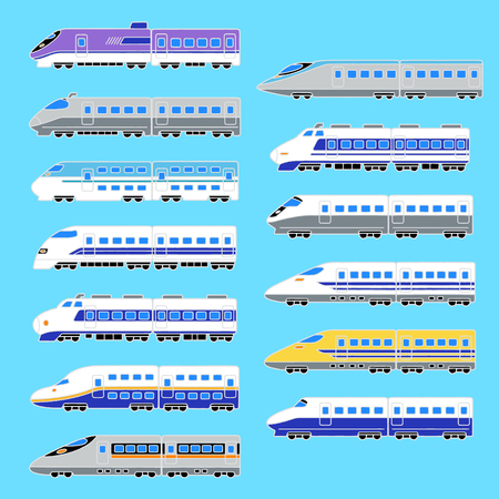Illustration of the japanese high speed train set vector Ilustração
