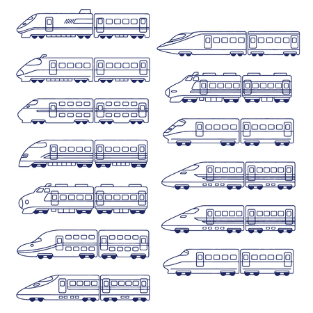 Illustration of the japanese high speed train set vector Иллюстрация