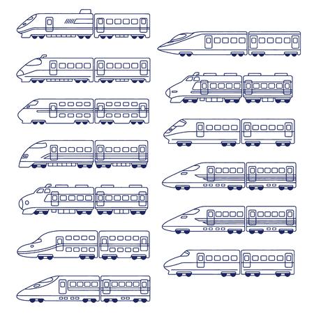 Ilustración del vector de conjunto de tren de alta velocidad japonés
