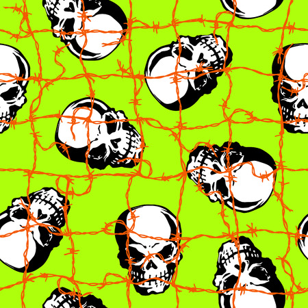 Pattern of barbed wire and the skull, I matched the skull with barbed wire and made a pattern, I continue seamlessly, Ilustrace
