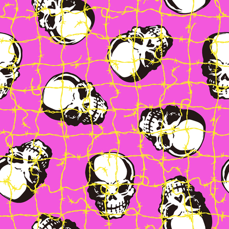 Pattern of barbed wire and the skull, I matched the skull with barbed wire and made a pattern, I continue seamlessly, Ilustração