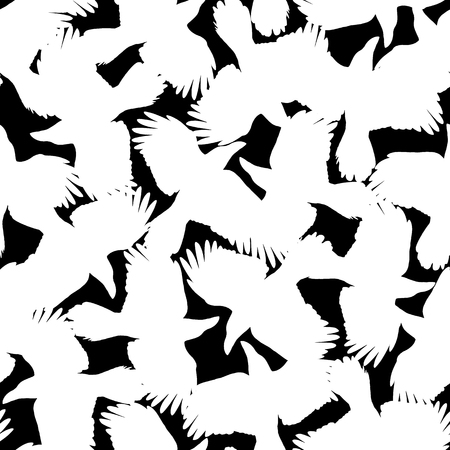 Pattern illustration of the crow, I made a crow a silhouette illustration. 写真素材 - 108057406