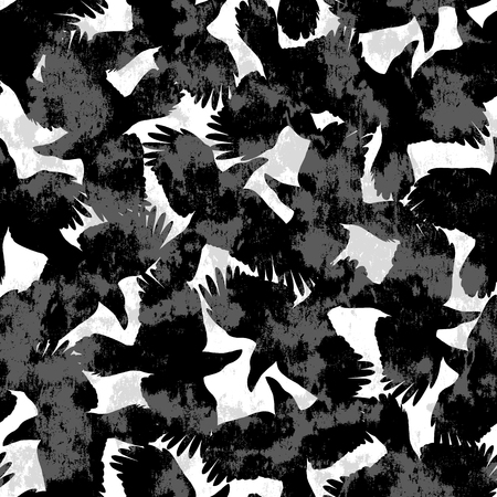 Pattern illustration of the crow, I made a crow a silhouette illustration. 写真素材 - 108057410