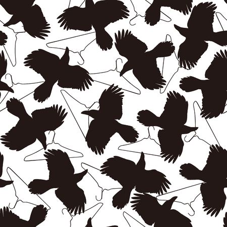 Pattern illustration of the crow, I made a crow a silhouette illustration. 写真素材 - 108057412