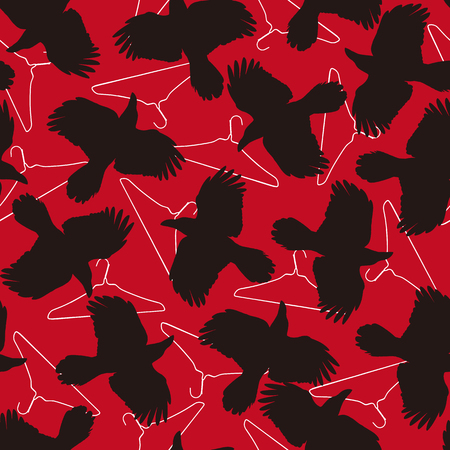 Pattern illustration of the crow, I made a crow a silhouette illustration. 写真素材 - 108057411