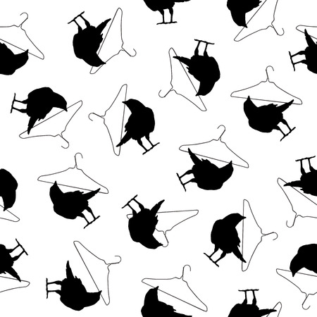Pattern illustration of the crow, I made a crow a silhouette illustration.