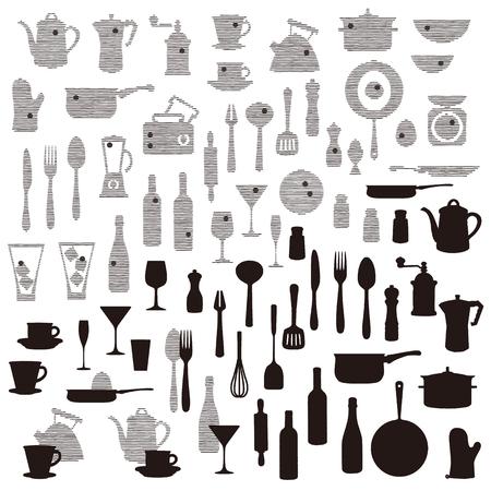 El patrón del utensilio de cocina, dibujé vino y un utensilio de cocina de manera abstracta,