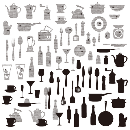 The pattern of the kitchen utensil, I drew wine and a kitchen utensil abstractly,