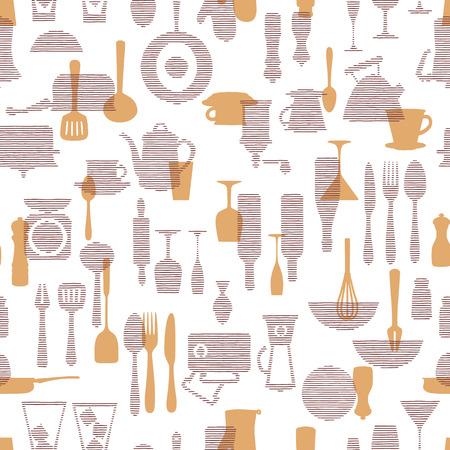 The pattern of the kitchen utensil, Ilustracje wektorowe