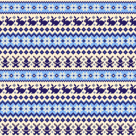 Rabbit Nordic events pattern illustration, I designed a traditional Nordic pattern, Illustration