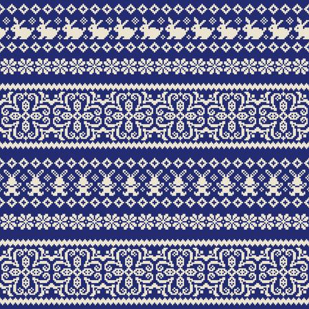 Rabbit Nordic events pattern illustration, I designed a traditional Nordic pattern, Vettoriali