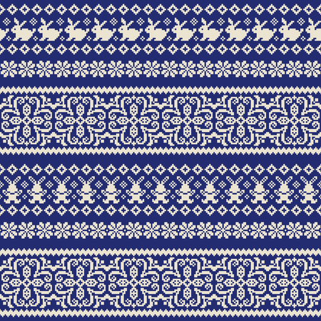 Rabbit Nordic events pattern illustration, I designed a traditional Nordic pattern, Çizim