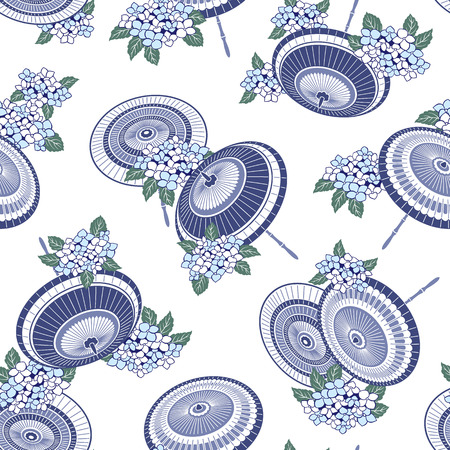 The pattern of the Japanese traditional umbrella and hydrangea