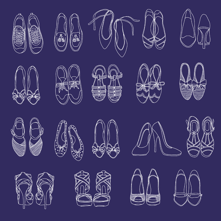 The shoes of the woman in a pattern