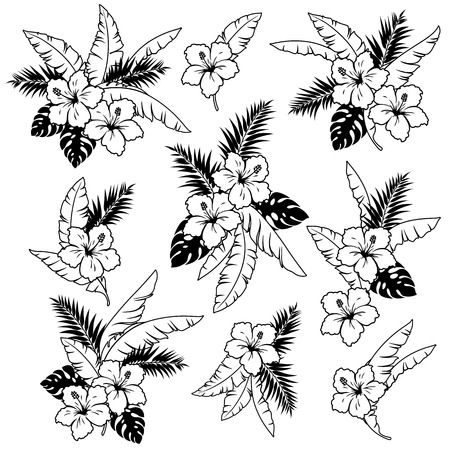 Hibiscus flower bouquet illustration 向量圖像