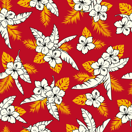Hibiscus flower illustration pattern  イラスト・ベクター素材