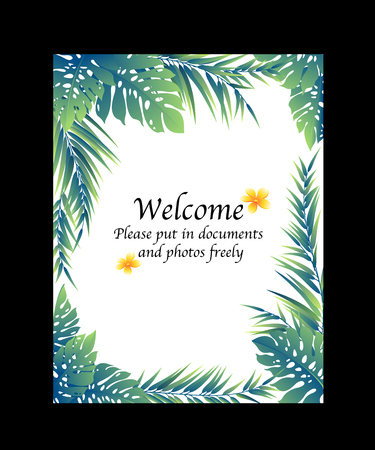 Tropical plant decoration frame,