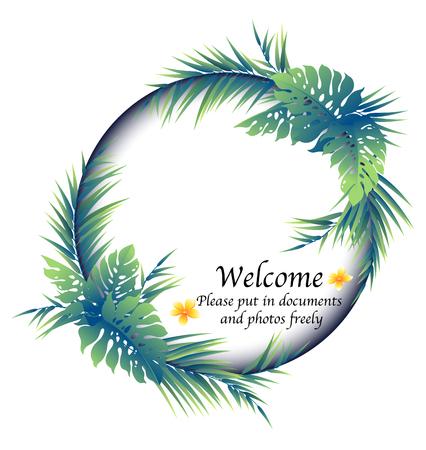I made a decoration frame with a tropical plant, tropical plant decoration frame