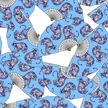 Japanese style folding fan pattern 矢量图像