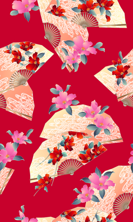 Japanese style folding fan pattern,  イラスト・ベクター素材