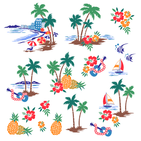 Hawaiian Shore scenery illustration Иллюстрация