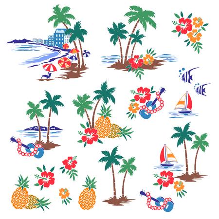 Hawaiian Shore scenery illustration Illustration