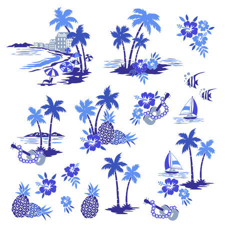 Hawaiian Shore scenery illustration Ilustrace