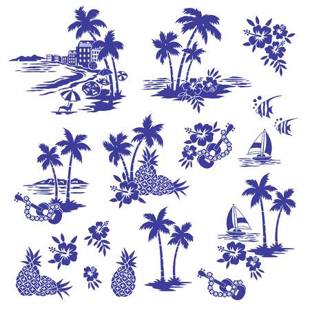 Hawaiian Shore scenery illustration Stock Illustratie
