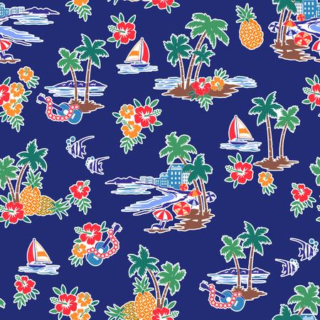 Hawaiian Shore scenery illustration Vectores