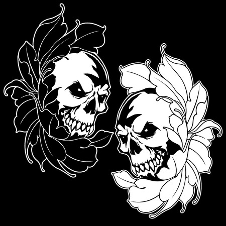 The Skull and Flower illustration,