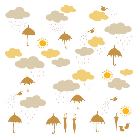 Pretty illustration material of a rain cloud and the umbrella,