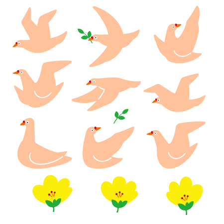 Illustration material of a simple dove,