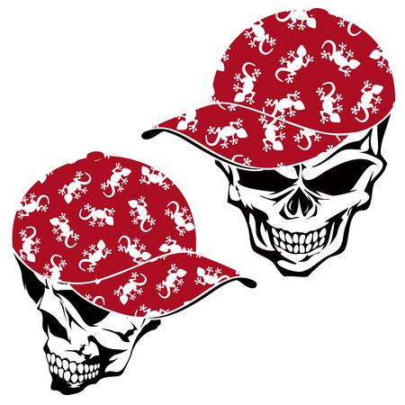 Skull illustration covered with a cap, Çizim