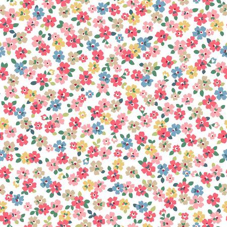 Seamless pattern of beautiful flowers and plants, Ilustrace