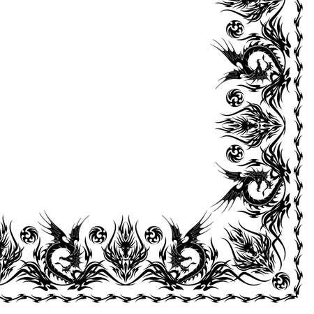 Ornament scarf design beautiful Tribal and dragon motif