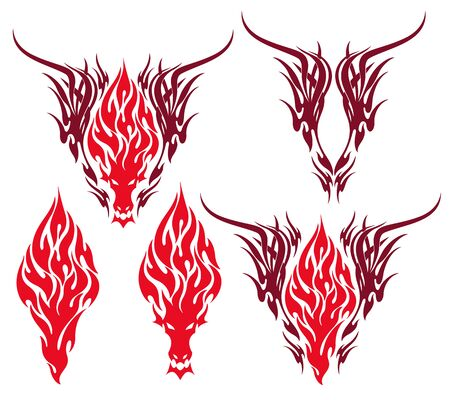 Vector illustration of the beautiful tribal and dragon,